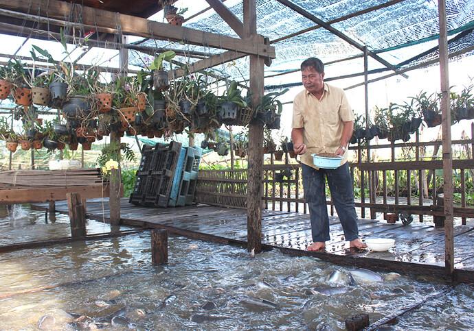 Ông Cường quây khoảng sông khoảng 500 m2 để làm nhà cho cá. Ảnh: Phan Diệp.